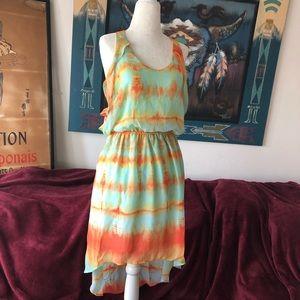 Lush Sunset Tye Dye High Low Rise Dress